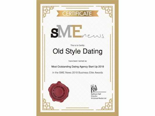 Old Style Dating Wins Most Outstanding Dating Agency Start Up 2018 Award