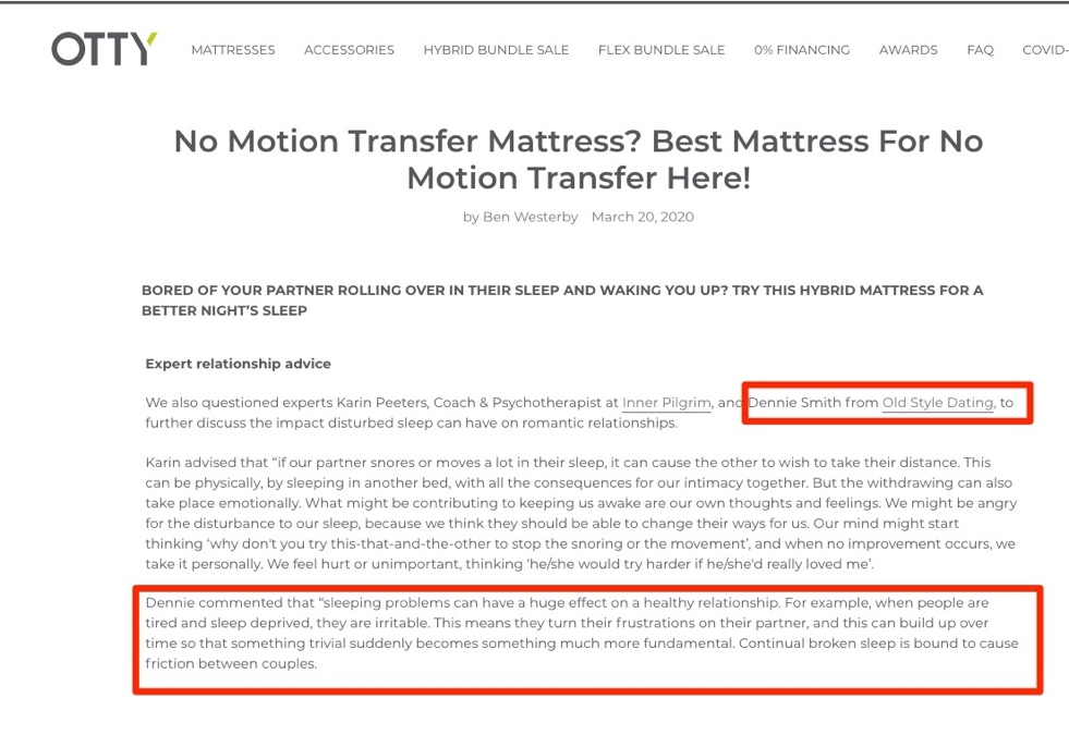No Motion Transfer Mattress – Advice from Dennie